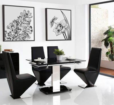 Enzo Black Glass and Stainless Steel Extending 80 - 120 cm Dining Table with 6 Black Rita Chairs
