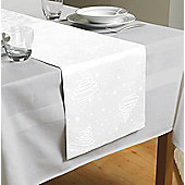 Country Club Jacquard Christmas Tree Table Runner White