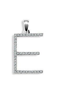 Ladies 9ct White Gold Pave Set Round H SI 20pts Diamond Elegant Block Initial ID Charm Pendant