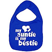 Dirty Fingers My Auntie is my Bestie Baby Bib Royal Blue
