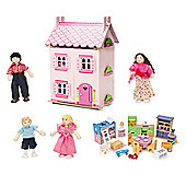 Le Toy Van My First Dream House with Furniture and My Family set of 4 Dolls