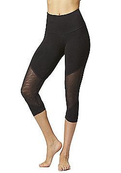 Illusion Mesh Inset Cropped Gym Leggings Black - Black