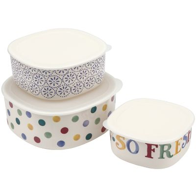 Emma Bridgewater Polka, Daisy & Text Set of 3 Melamine Storage Containers