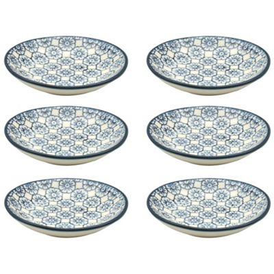 Small Patterned Rice / Soy Sauce / Olive Oil / Dipping Dish - 101mm - Blue Flower - Box of 6