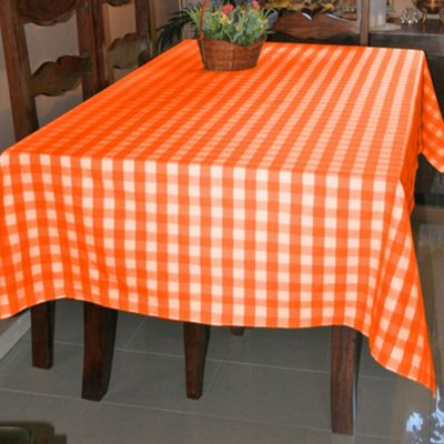 Homescapes Orange Block Check Tablecloth, 54 x 70 Inches