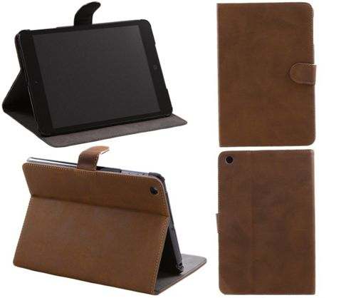 PadWear Soft Feel Leather Book Executive LuxFolio Brown Wallet Case With SMART TILT Stand For Apple iPad Mini Tablet (Wi Fi and 3G).