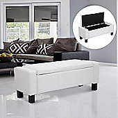 Homcom Ottoman Storage Chest Faux Leather Bench Bedding Blanket Box (White)