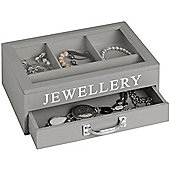 Jewellery Storage Box With Drawer And Clear Lid - Grey / White