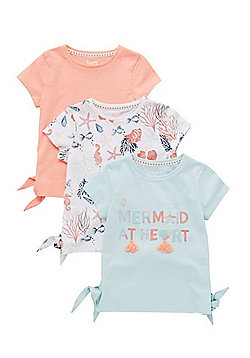 F&F 3 Pack of Sea Theme Side Tie T-Shirts - Multi