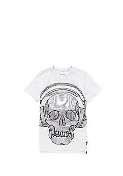F&F Textured Skull Long Line T-Shirt - White