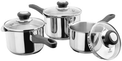 Judge Vista Stainless Steel 3 Piece Saucepan Pan Set