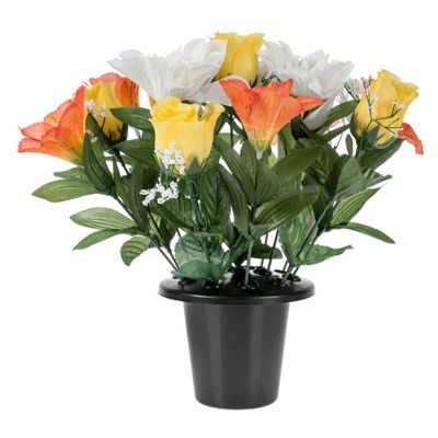 Homescapes White & Orange Roses Lily Mix Grave Flowers