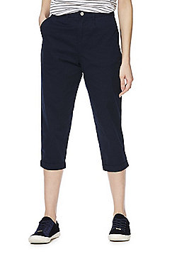 F&F Turn-Up Cropped Trousers - Navy