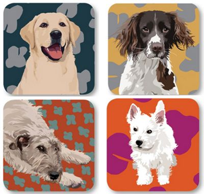 Leslie Gerry Dog Coasters, Set of 4