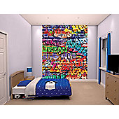 Walltastic Graffiti Brick Wall Mural 8 ft x 6.5 ft