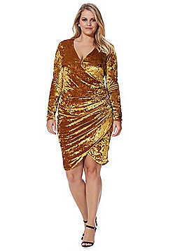 Simply Be Crushed Velour Wrap Dress - Mustard yellow