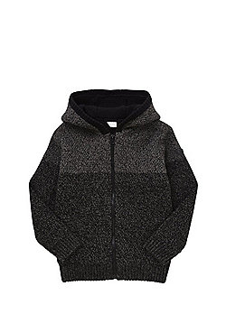 F&F Fleece Lined Knitted Hoodie - Grey