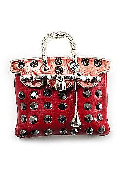 Carrot Red Crystal Designer Bag Brooch (Silver Tone)