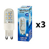Pack of 3 Minisun 3W High Power LED G9 Light Bulbs in Cool White