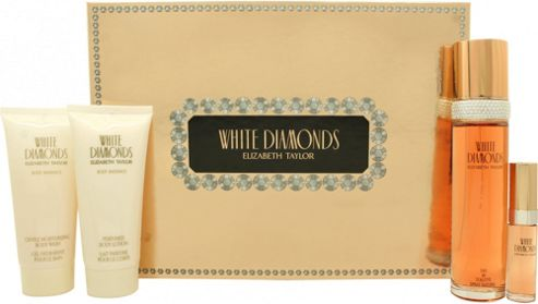 Elizabeth Taylor White Diamonds Gift Set 100ml EDT + 100ml Body Lotion + 100ml Shower Gel + 15ml EDP For Women