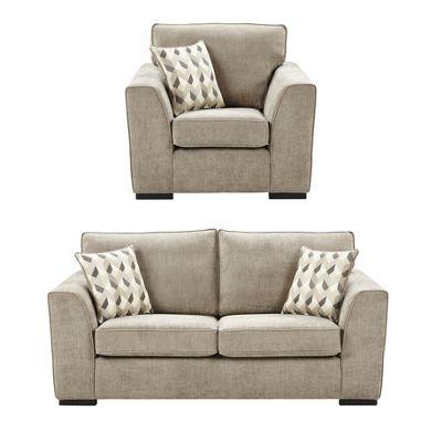 Boston Armchair + 2.5 Seater Sofa Set, Taupe