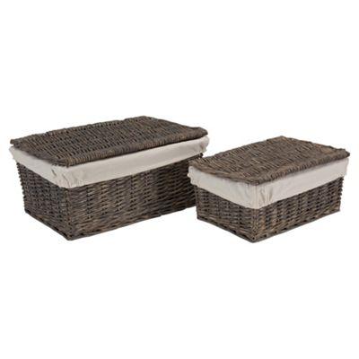 Tesco Wicker Fabric Lined Lidded Baskets, Set of 2, Grey
