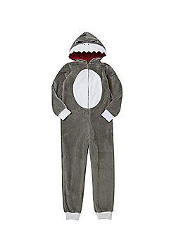 F&F Shark Face Fleece Onesie - Grey
