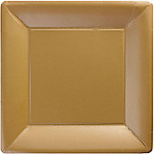 Gold Square Plates - 26cm Paper Party Plates - 20 Pack