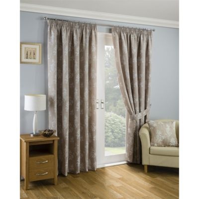 Dallas Pencil Pleat Natural Lined Curtains - 46x54 Inches (117x137cm)