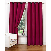 Hamilton McBride Canvas Unlined Ring Top Curtains - Raspberry