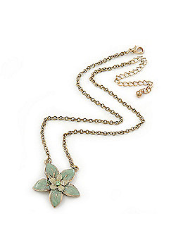 Mint Green Enamel Flower Pendant Gold Tone Chain Necklace - 36cm Length/ 7cm Extension