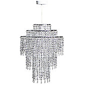 Kliving 3-tiered Silver Acrylic Beaded Ceiling Light