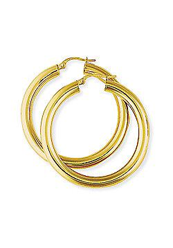 Jewelco London 9ct Yellow Gold - Polished Hoop Earrings -