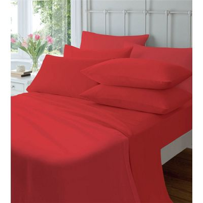 Catherine Lansfield Cosy Corner Flannelette Fitted Sheet Red - King