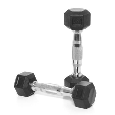 Body Power Rubber Hex Ergo Dumbbells - 1Kg (x2)