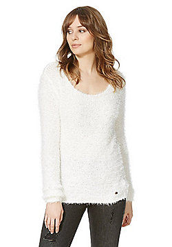Only Fluffy Scoop Neck Jumper - White