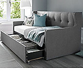 Happy Beds Hunter Fabric Day Bed and Underbed Storage Drawer with Orthopaedic Mattress - Grey - 3ft Single