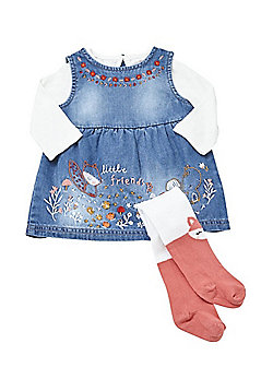 F&F Embroidered Denim Pinafore Dress, T-Shirt and Fox Tights Set - Blue & Multi