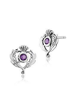 Gemondo Sterling Silver 0.11ct Amethyst Thistle Style Stud Earrings