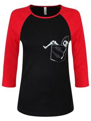 Pocket Skeleton Black & Red Raglan Women's T-shirt