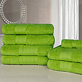 Dreamscene Luxury Egyptian Cotton 7 Piece Bathroom Towel Set - Lime