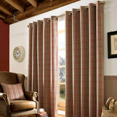 Homescapes Beige and Red Tartan Check Eyelet Curtains, 117cm x 137cm
