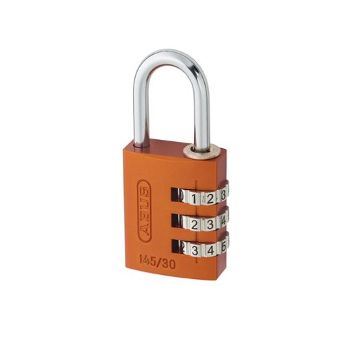 145/30 30mm Aluminium Combination Padlock Orange 46579