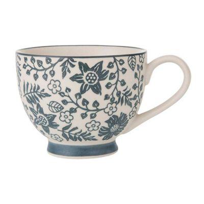 Bahne Monochrome Floral Print Ceramic Coffee or Tea Mug Ø 11.5 x 8.5 cm