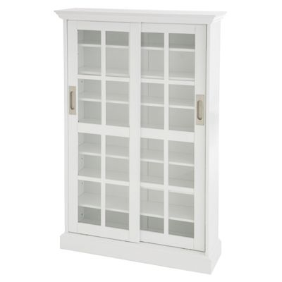 Southern Enterprises White Windowpane Media Cabinet