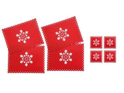 Country Club Snowflake Felt Placemats and Coasters Set of 4