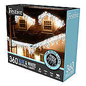 Festive LED Icicle Lights 360 Blue and White