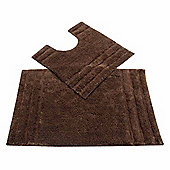 Homescapes Spa Supreme Luxury Chocolate Bath and Pedestal Mat
