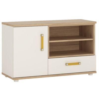 4KIDS 1 door 1 drawer TV/HI FI cabinet in light oak and white high gloss with orange handles