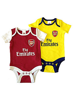 Arsenal Baby Core Kit 2 Pack Bodysuits - 2017/18 Season - Red & Yellow